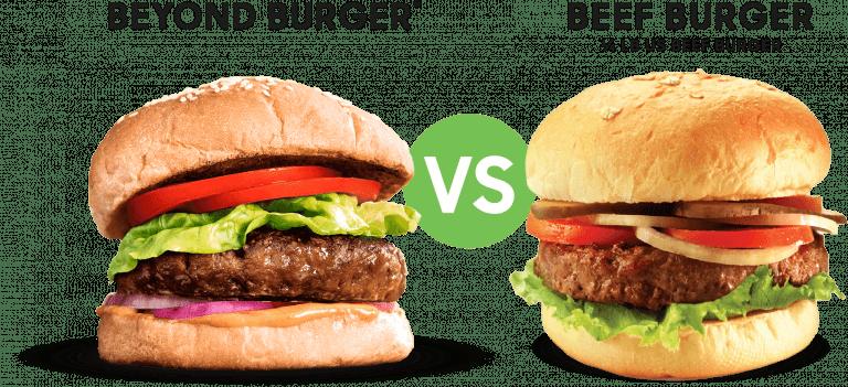 เปรียบเทียบชิ้นเบอร์เกอร์ของ Beyond Meat กับเนื้อปกติ