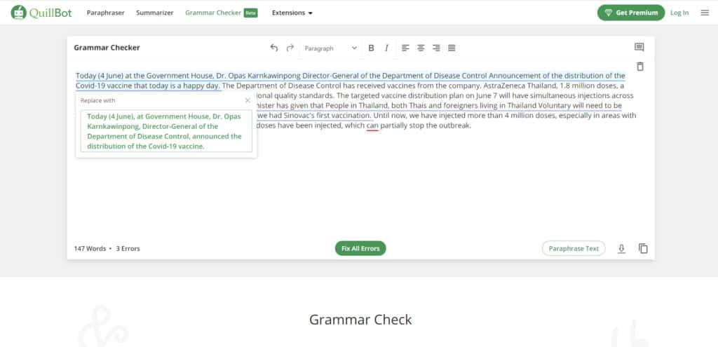 Quillbot grammar check